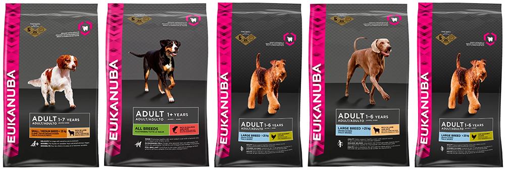 Линейка кормов Эукануба для взрослых собак.