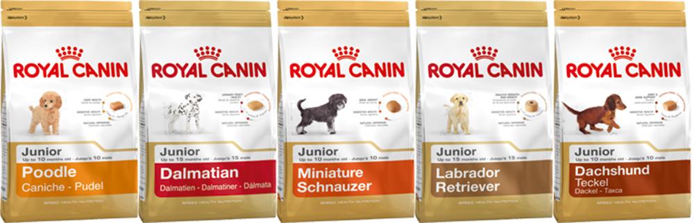 Линейка кормов Royal Canin для щенков